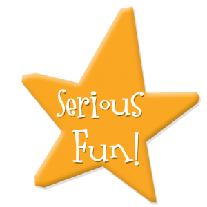 Yellow star with the words 'Serious Fun!' in the middle
