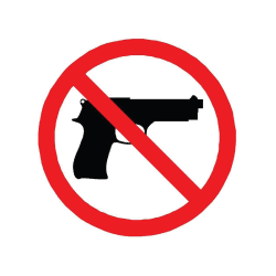 No firearms allowed at this facility sign.