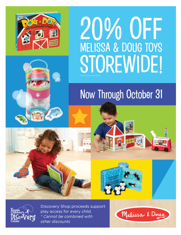 Children play with toys from Melissa & Doug, with information about a 20% off sale