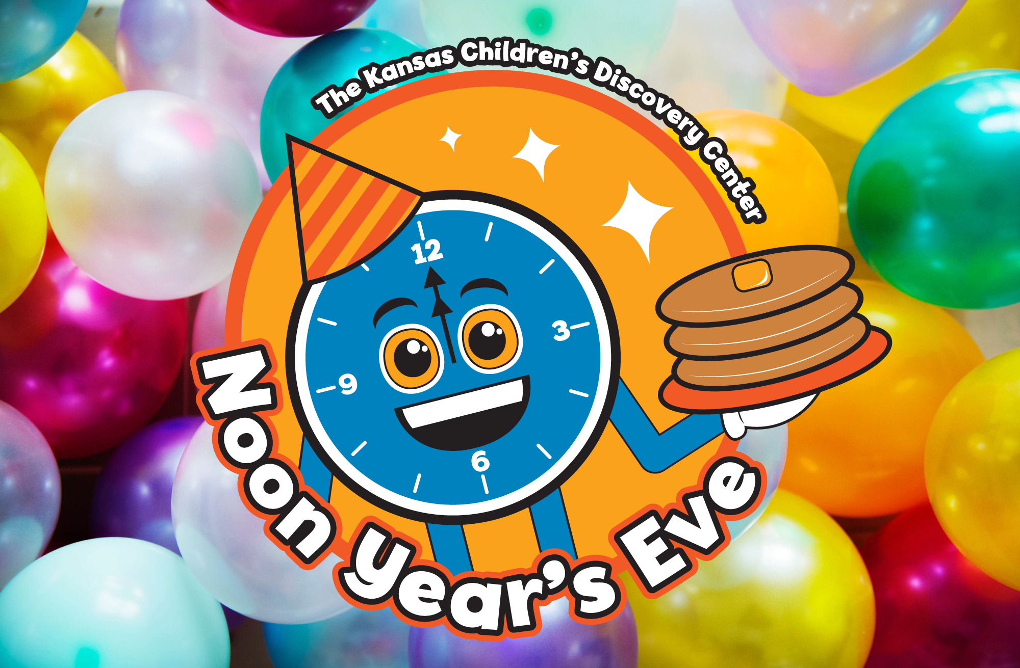 KCDC's Noon Years Eve logo featuring a clock with a party hat holding a stack of pancakes on a background of multicolored balloons