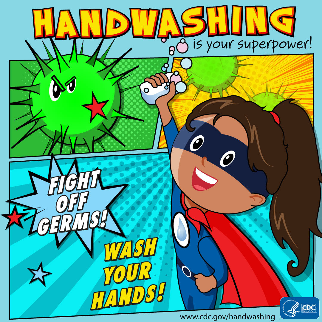 Hand washing is your super power image showing a girl in a cape holding a bar of soap